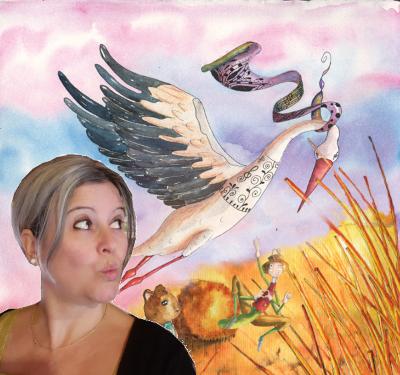 photo Hélène Valentin dans un paysage d'aquarelle, souris, cigogne, champ, criquet.