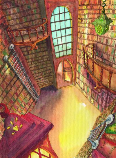 une grande bibliothèque à l'aquarelle